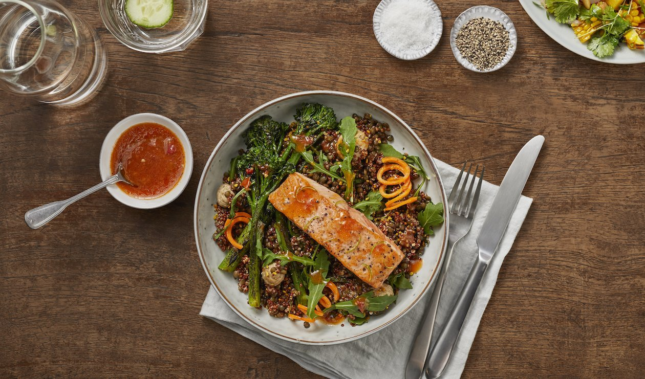Charred Tomato and Garlic Roasted Salmon, Broccolini and Quinoa Bowl with Eggplant Aioli – recipe