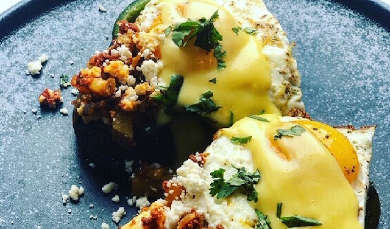 Chorizo and Potato Hash Stuffed Poblanos with Fried Eggs and Hollandaise  – recipe