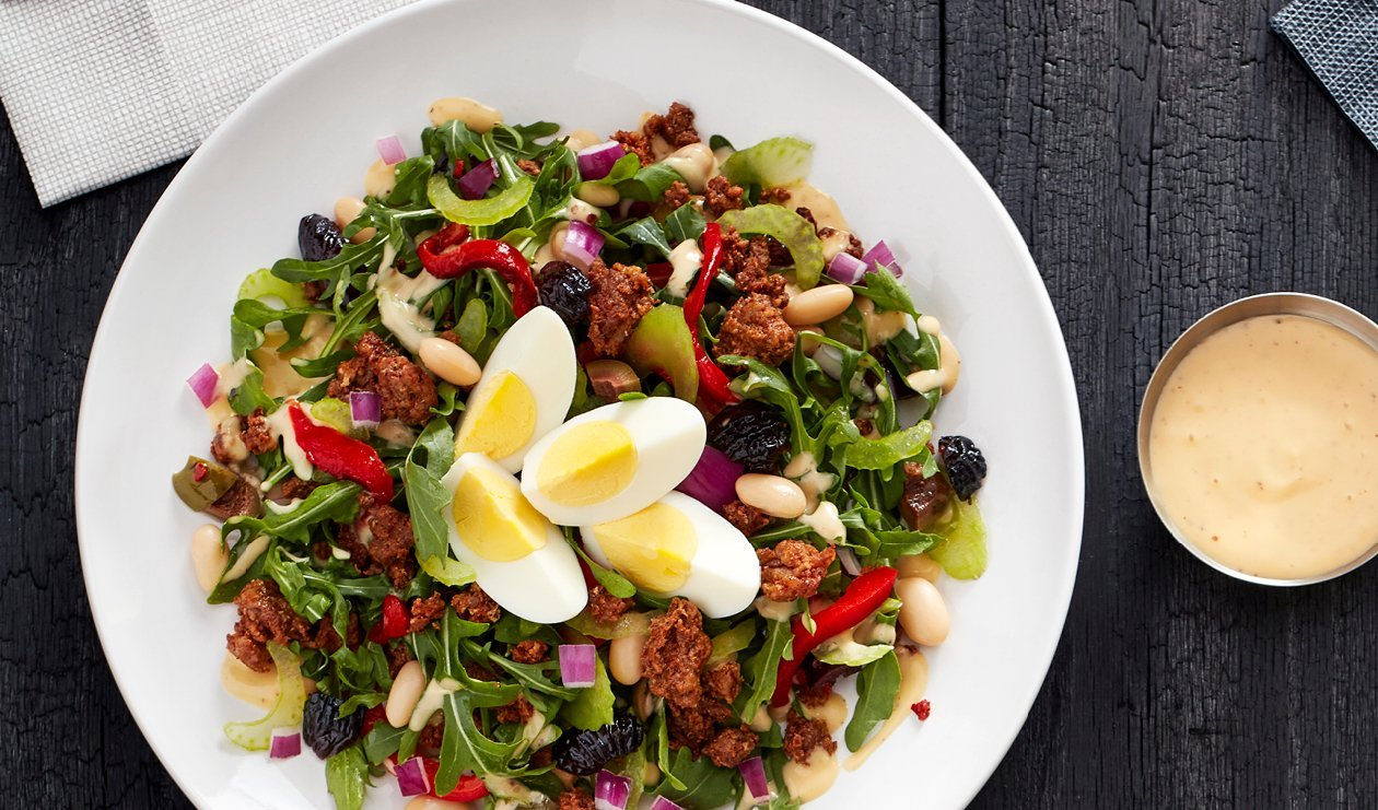 Chorizo, White Bean and Oil Cured Olive Chopped Salad with Smoky Honey Mustard Dressing – recipe