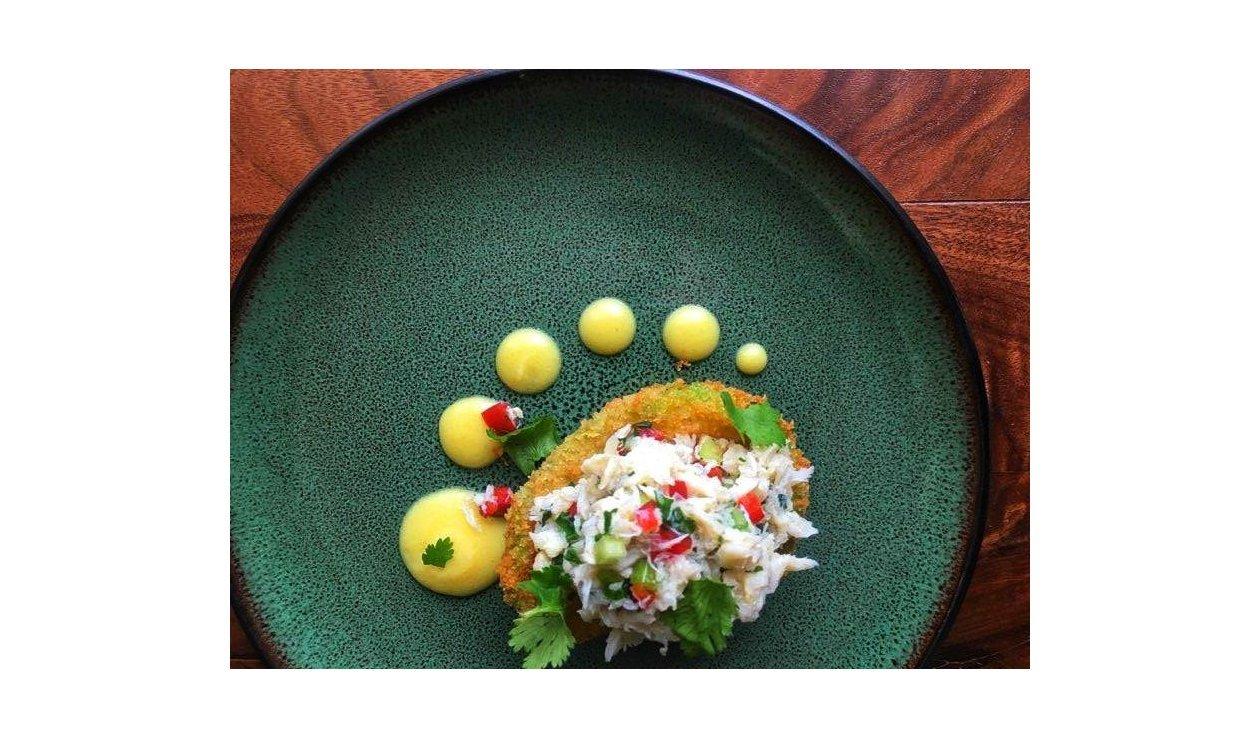 Crispy Avocado and Crab Salad and Hollandaise