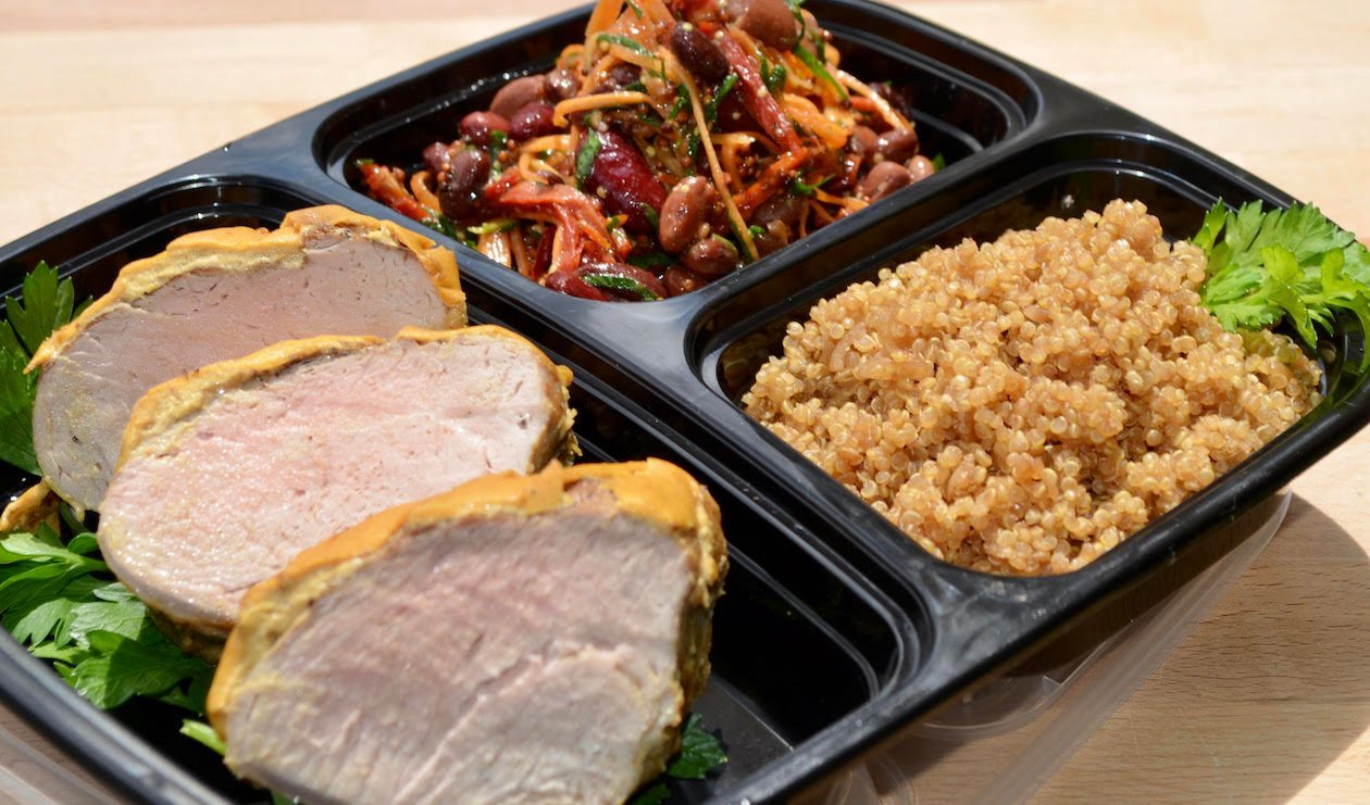 Dijon Pork Tenderloin, Red Bean Salad and French Onion Quinoa – recipe