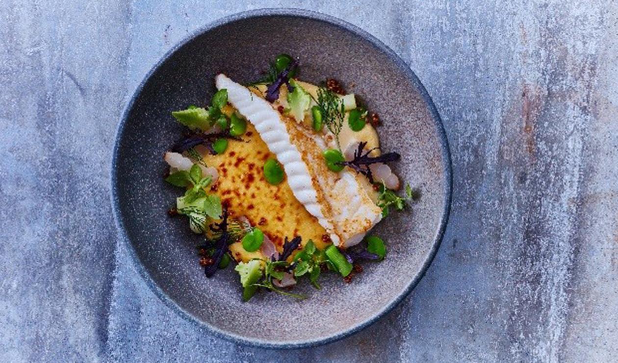 Fried Monk Fish with White Wine Cream Sauce