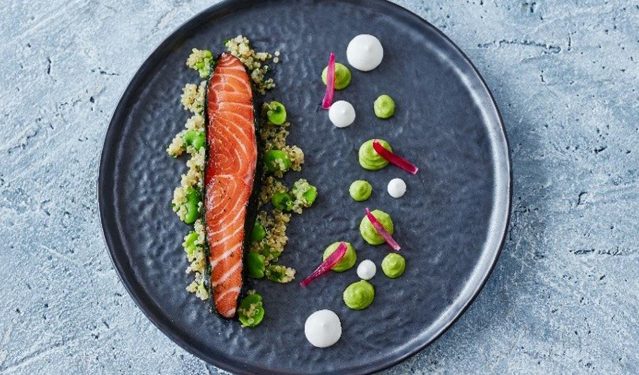 Gin Cured Salmon with Quinoa – recipe