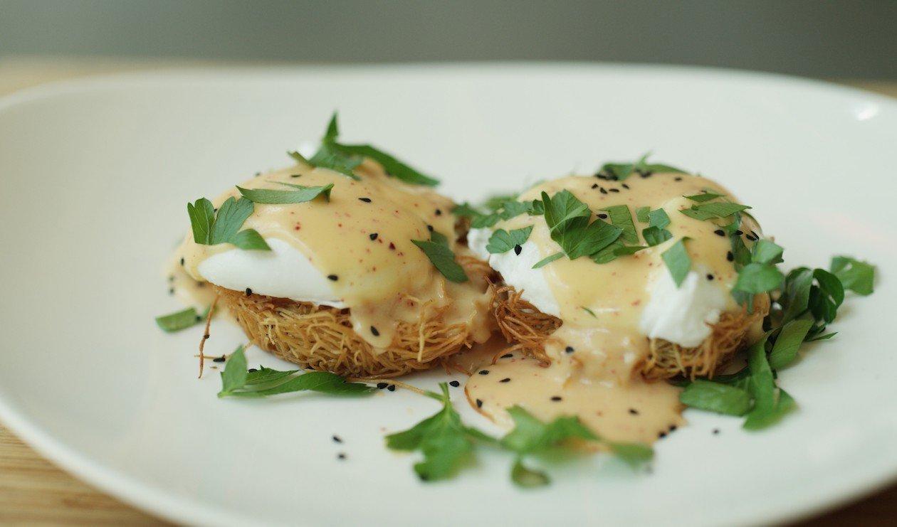 Middle Eastern Eggs Benedict – recipe