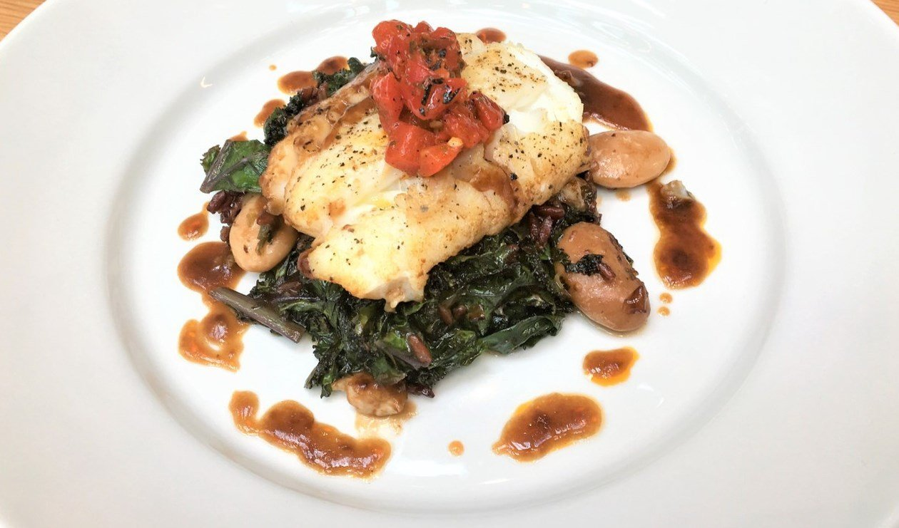 Pan Seared Cod with with Purple Kale and White Wine Demi Glace  – recipe