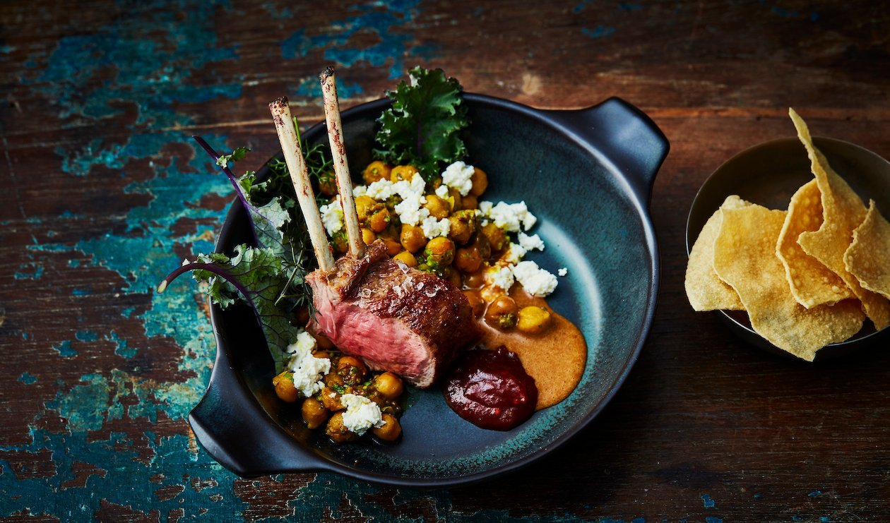 Rack of Lamb with Garbanzo Beans, Tomato Marmalade and Tamarind Sauce – recipe