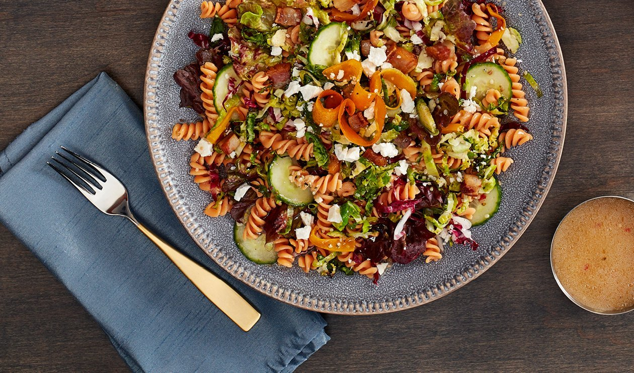 Red Lentil Pasta Bowl with Lemony Roasted Brussels Sprouts – recipe