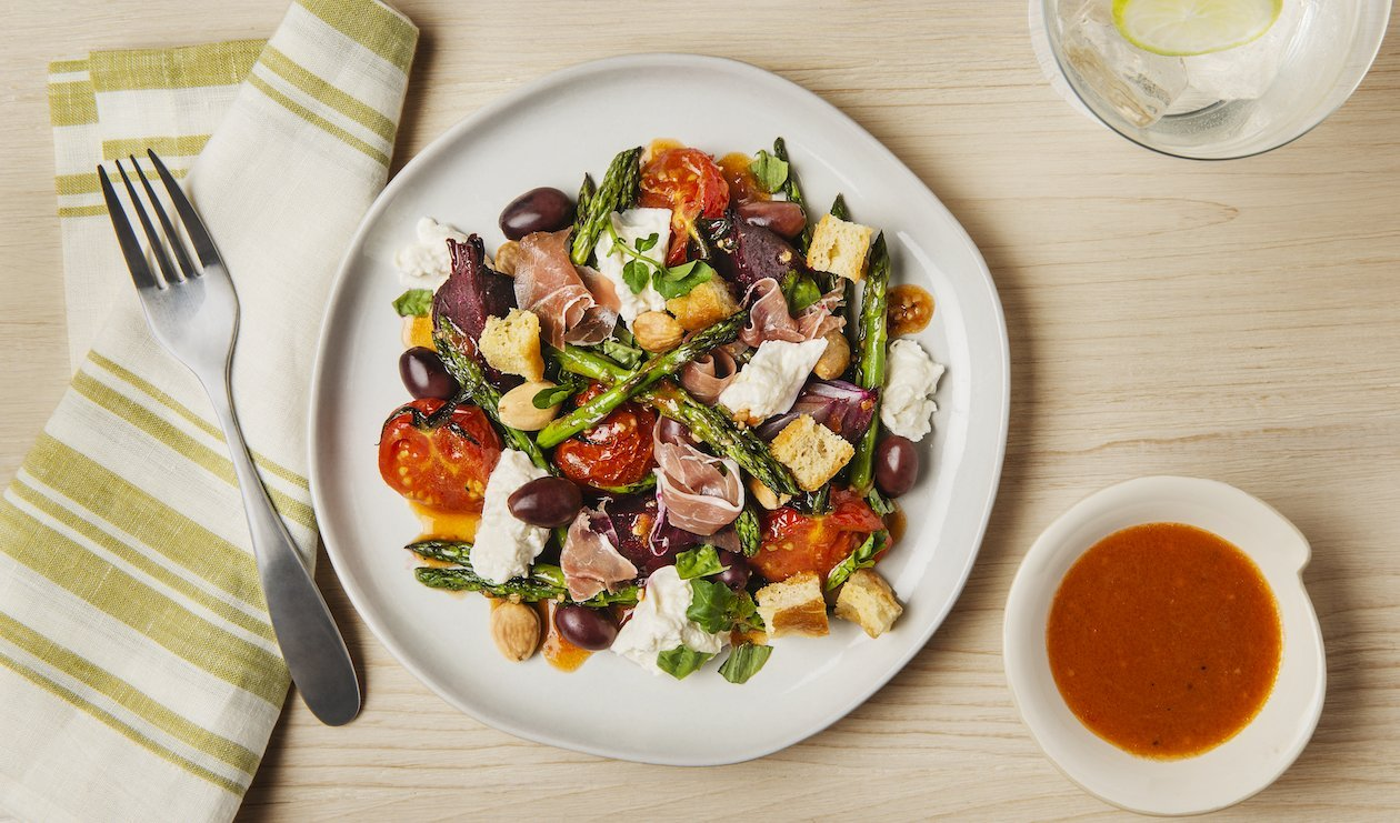 Roasted Asparagus and Prosciutto Salad with Candied Beets and Burrata