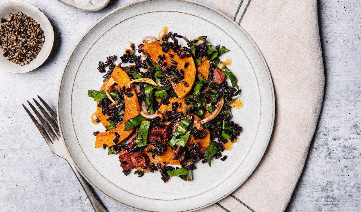Roasted Squash and Black Rice Salad with Umami Vinaigrette