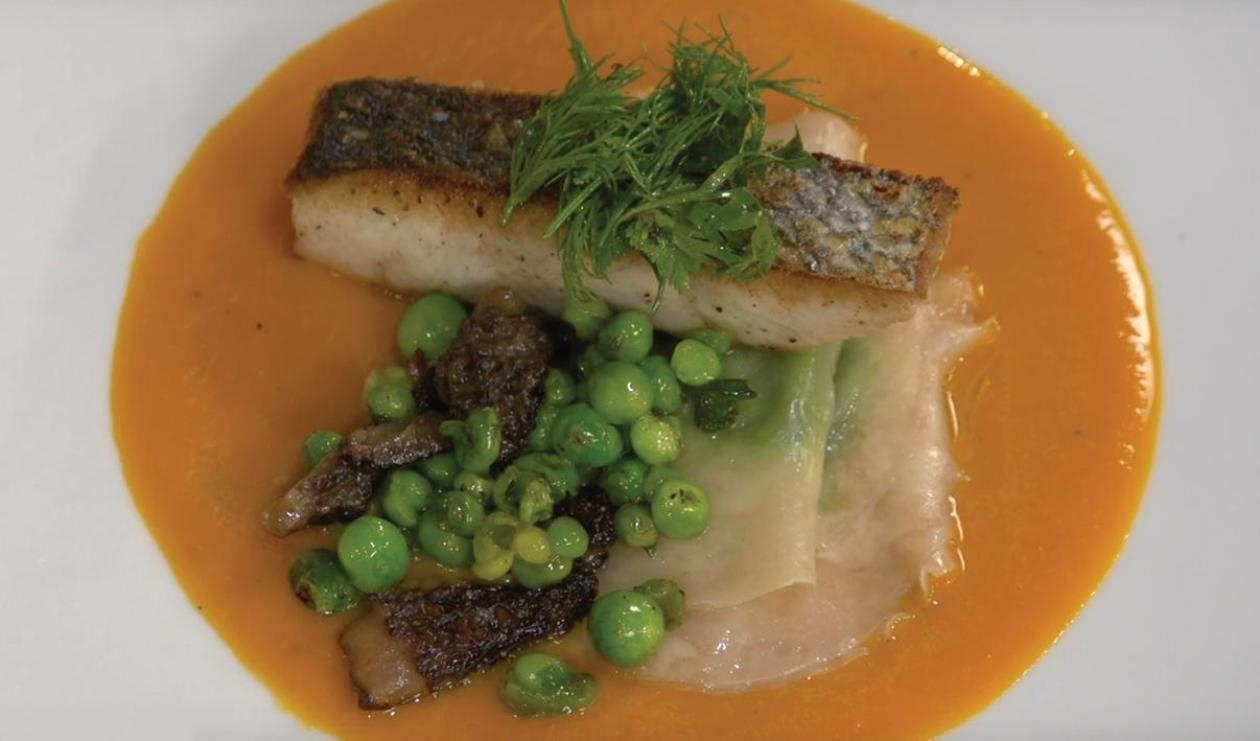 Sea Bass with Sweet Pea Ravioli, Carrot and Ginger Sauce