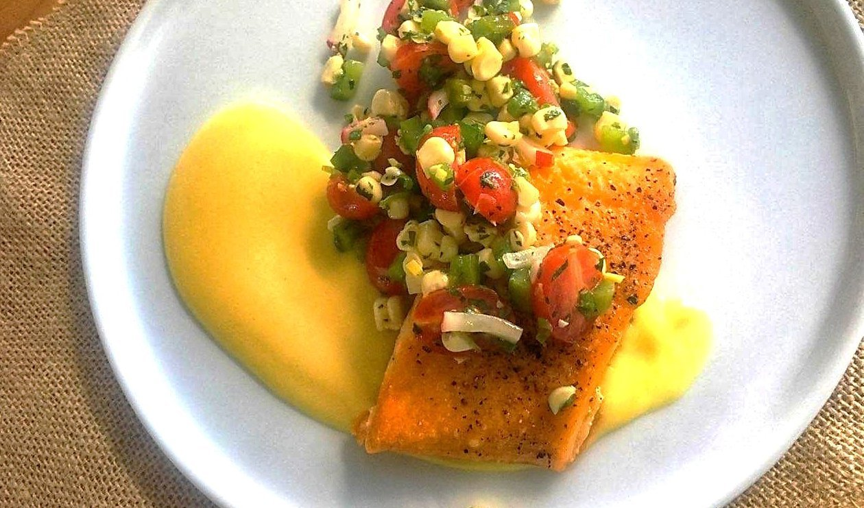 Seared Artic Char with Roasted Garlic Hollandaise and Citrus Spring Corn Salad – recipe