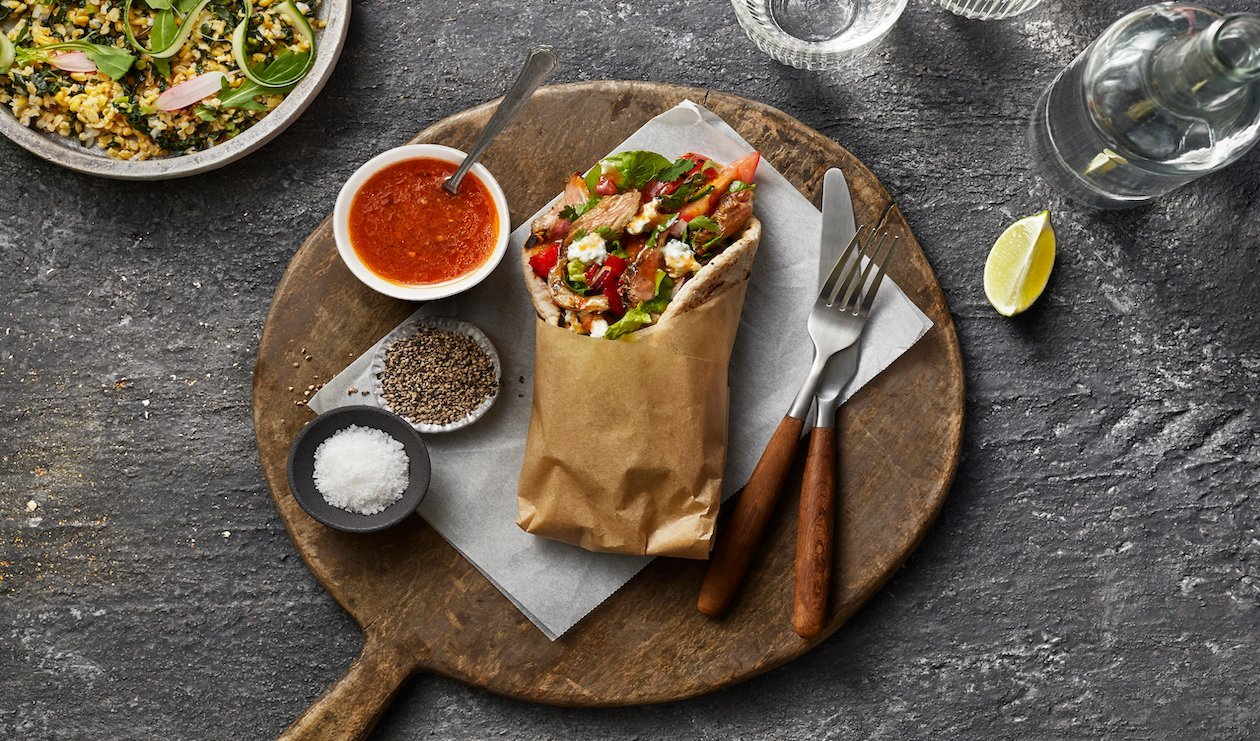 Skirt Steak Gyros with Herbed Feta Sauce and Marinated Tomatoes – recipe