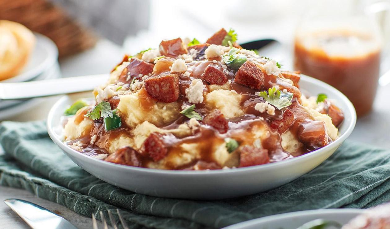 Smashed Potatoes and Chorizo with Fire-Roasted Gravy – recipe