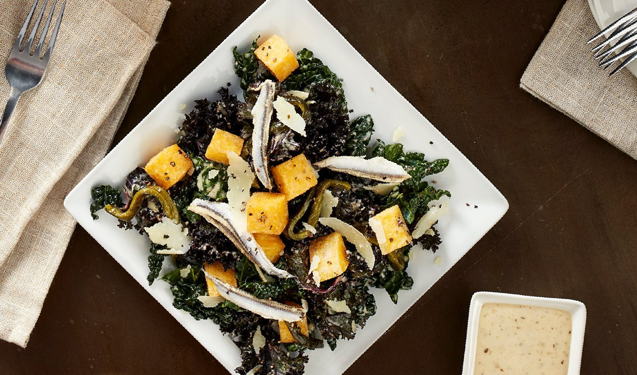 Spicy Poblano Kale Caesar with Polenta Croutons – recipe