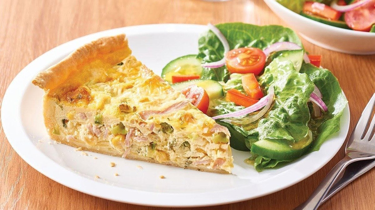 Spring Ham, Asparagus and Shiitake Quiche with Tomato and Green Onion Hollandaise