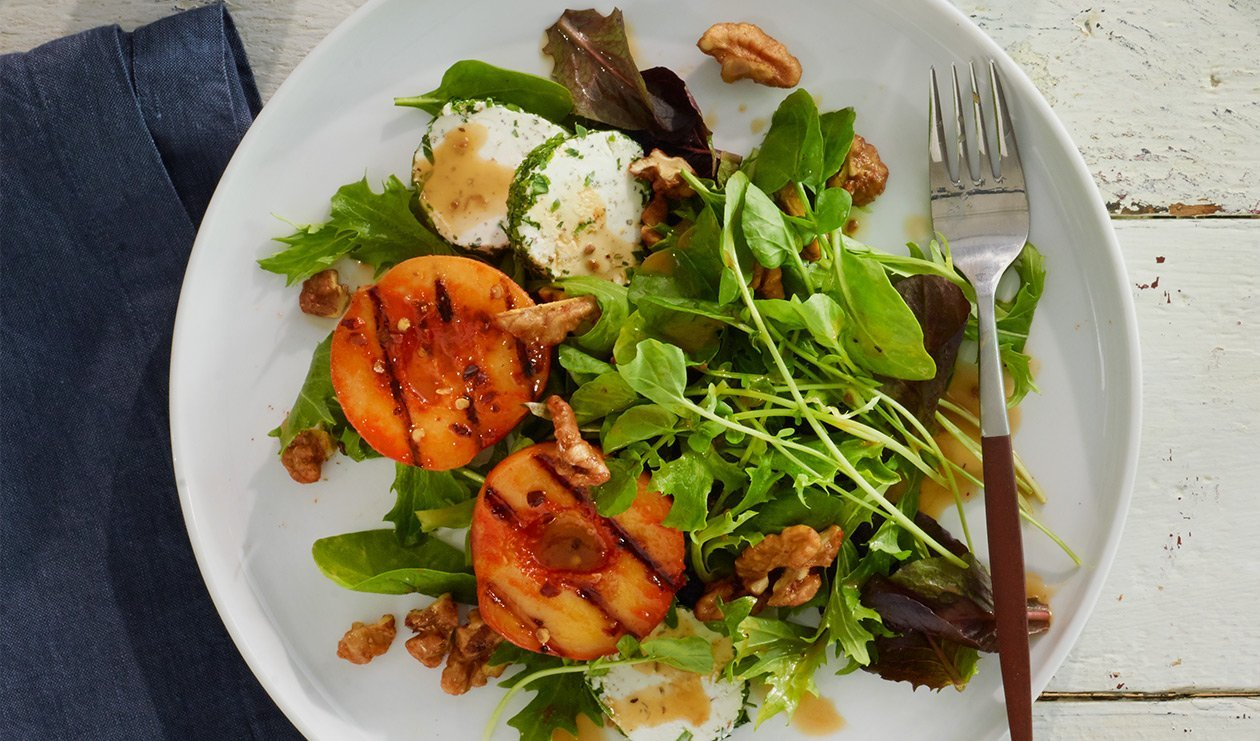 Sweet Heat Peach and Goat Cheese Salad