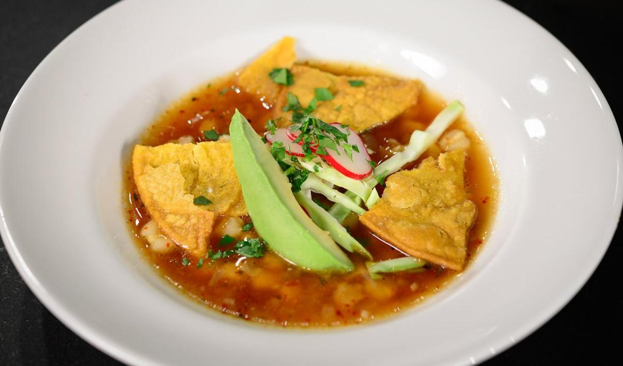 Toasted Tortilla Soup with Queso Fresco, Chicken and Avocado