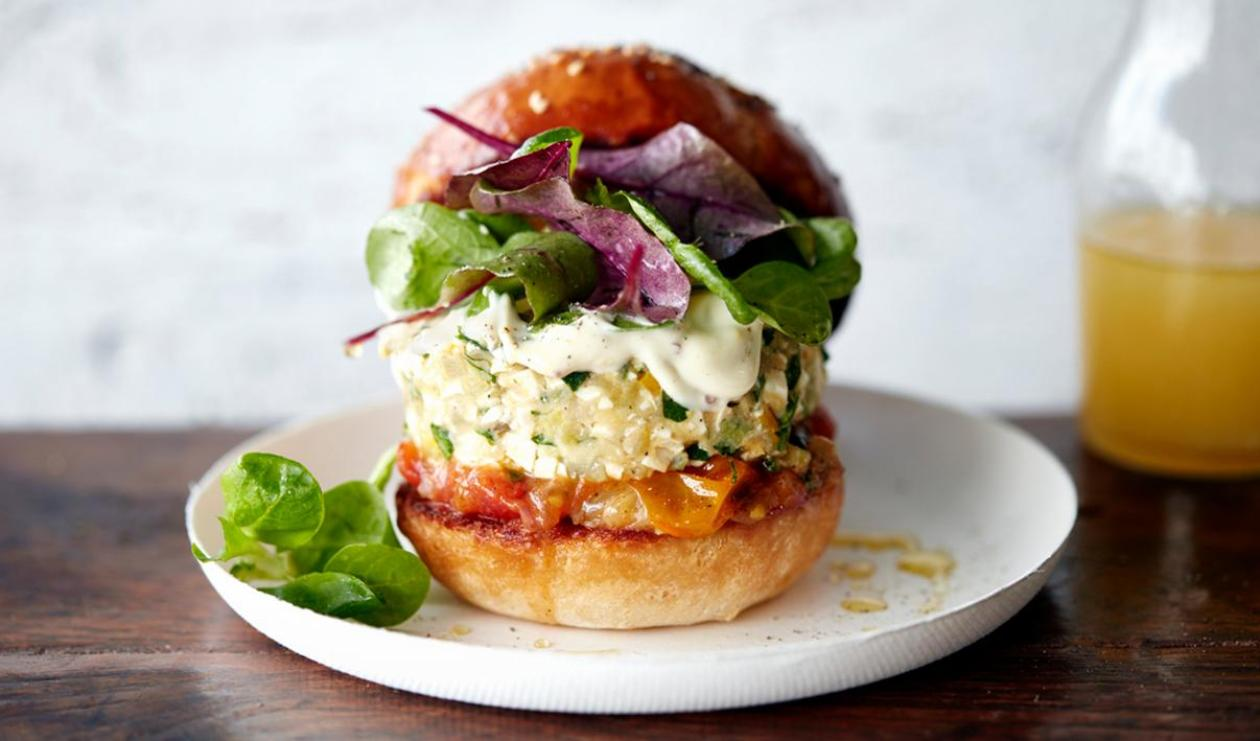 Tofu Zucchini Burger with Mustard Mayonnaise – recipe