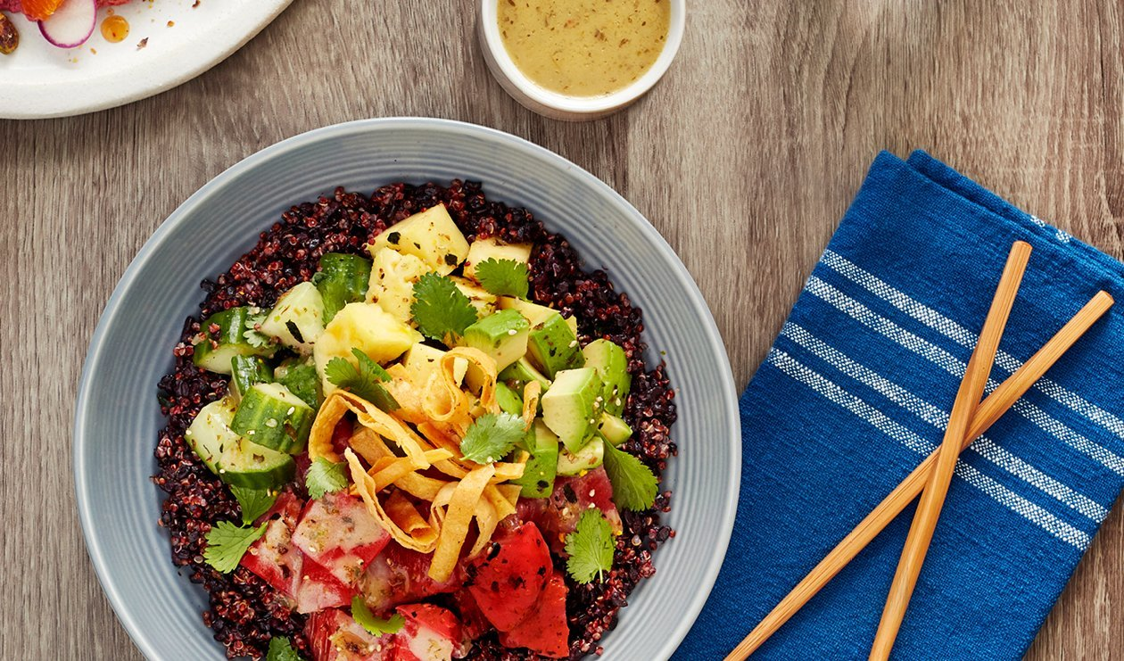 Tuna Poke Taco Bowl with Pineapple and Pickled Cucumber – recipe