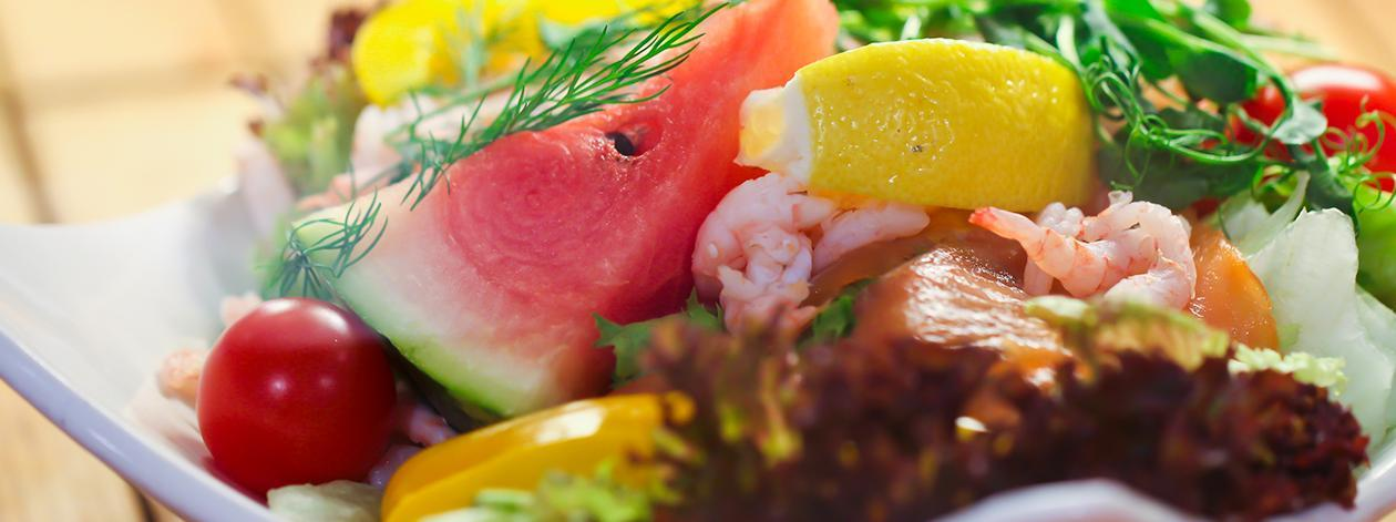 Watermelon with Shrimp and Crisp Shallots