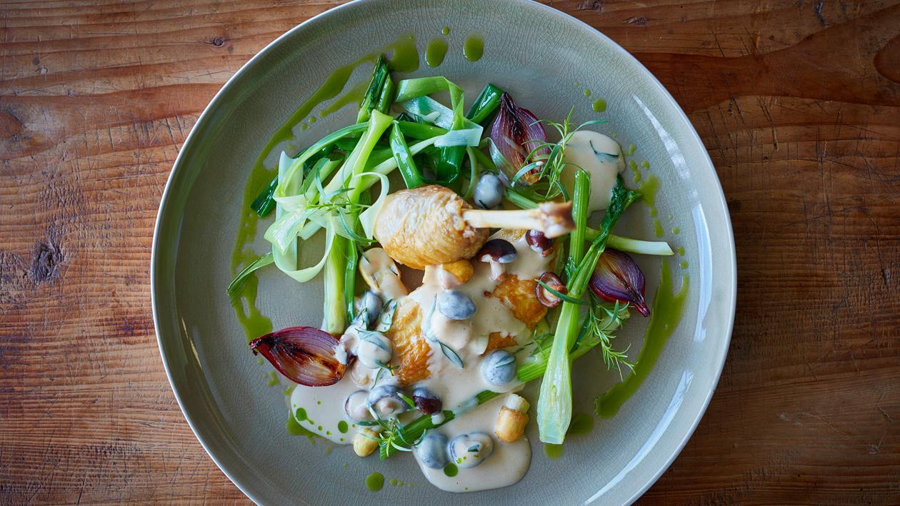Chicken with Creamy Mushroom Sauce and Leek Oil