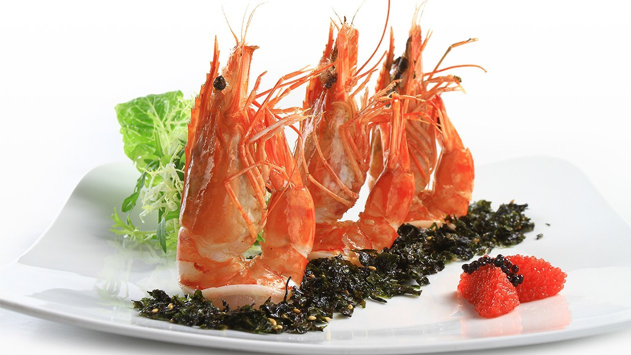 Grilled Prawn with Seasoned Seaweed