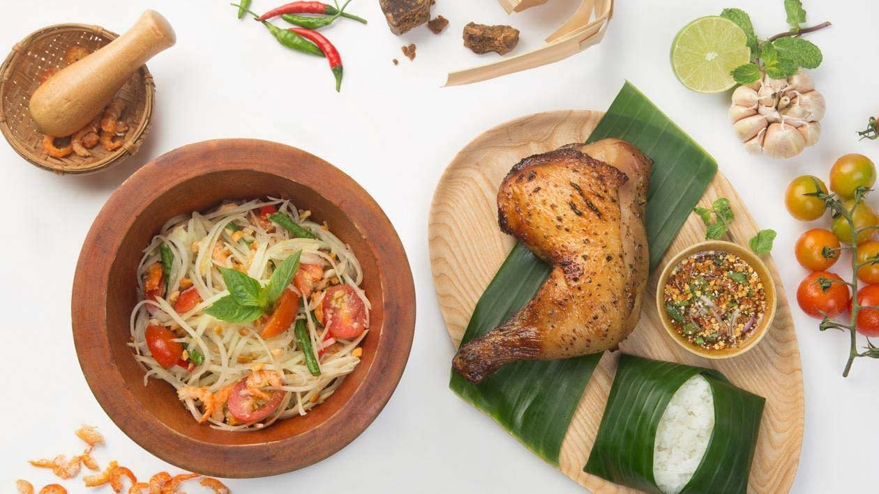 Papaya Salad with Grilled Chicken