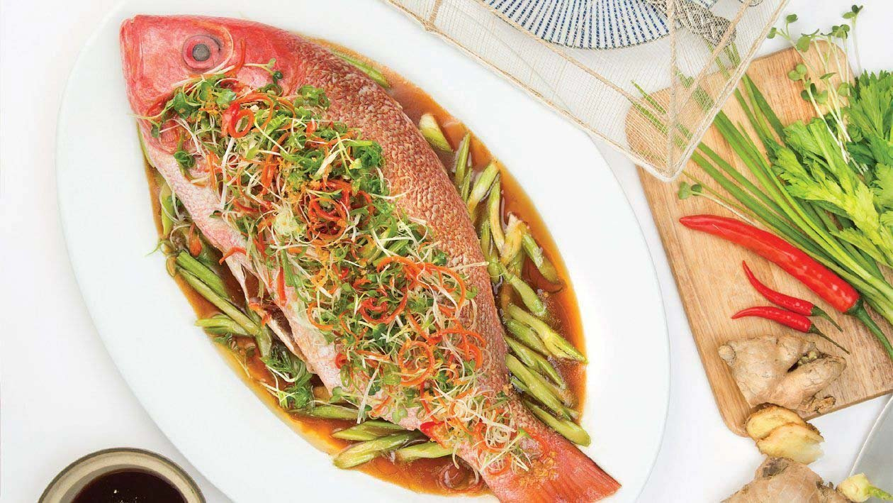 Steamed Snapper Fish and Celery Sauce