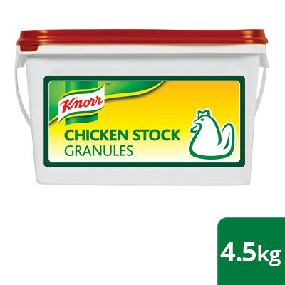 Knorr Professional Chicken Stock Granules 4.5kg - Here's an ingredient made with real chicken that adds flavour and not saltiness to the dish.