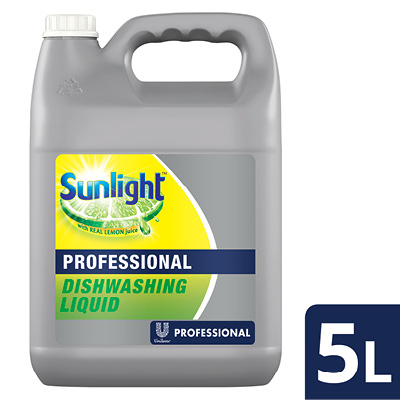 Unilever Professional Sunlight Dishwashing Liquid  - Sunlight offers a product with 4x degreasing power that leaves glasses sparkly clean without residue.