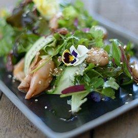 Spiced up Squid, ribbon cucumber, coriander, basil & rocket salad