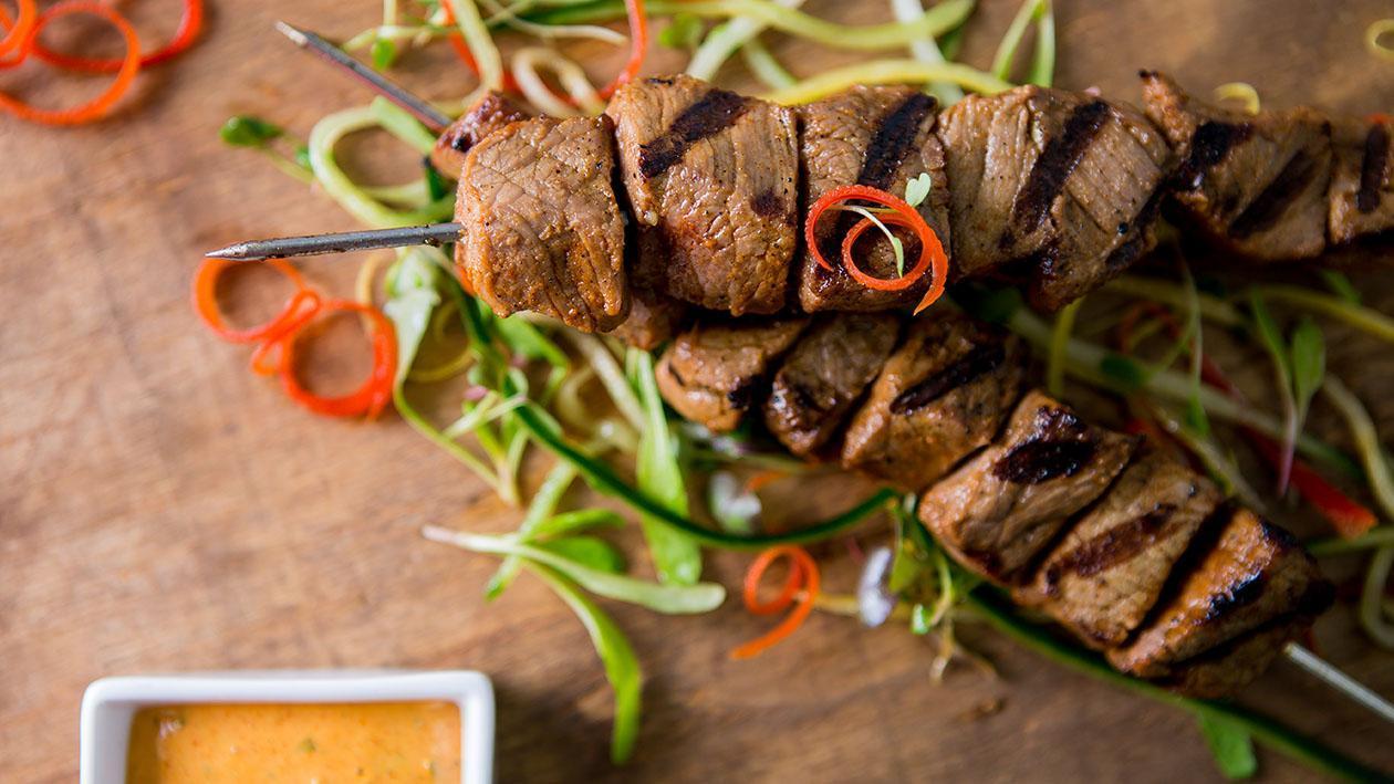 Beef Skewers with Paprika Aioli