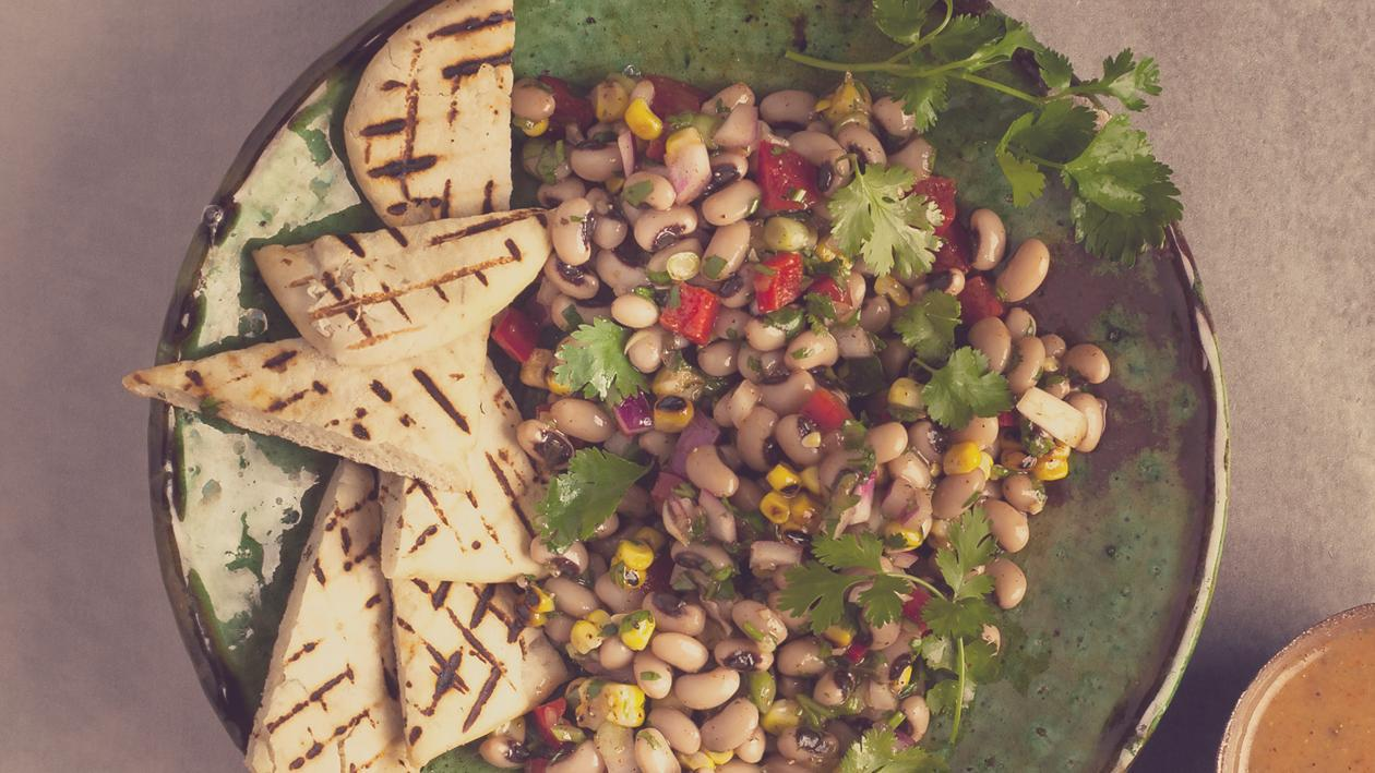 Black-Eyed Bean Salad with Toasted Pita and East African Dressing