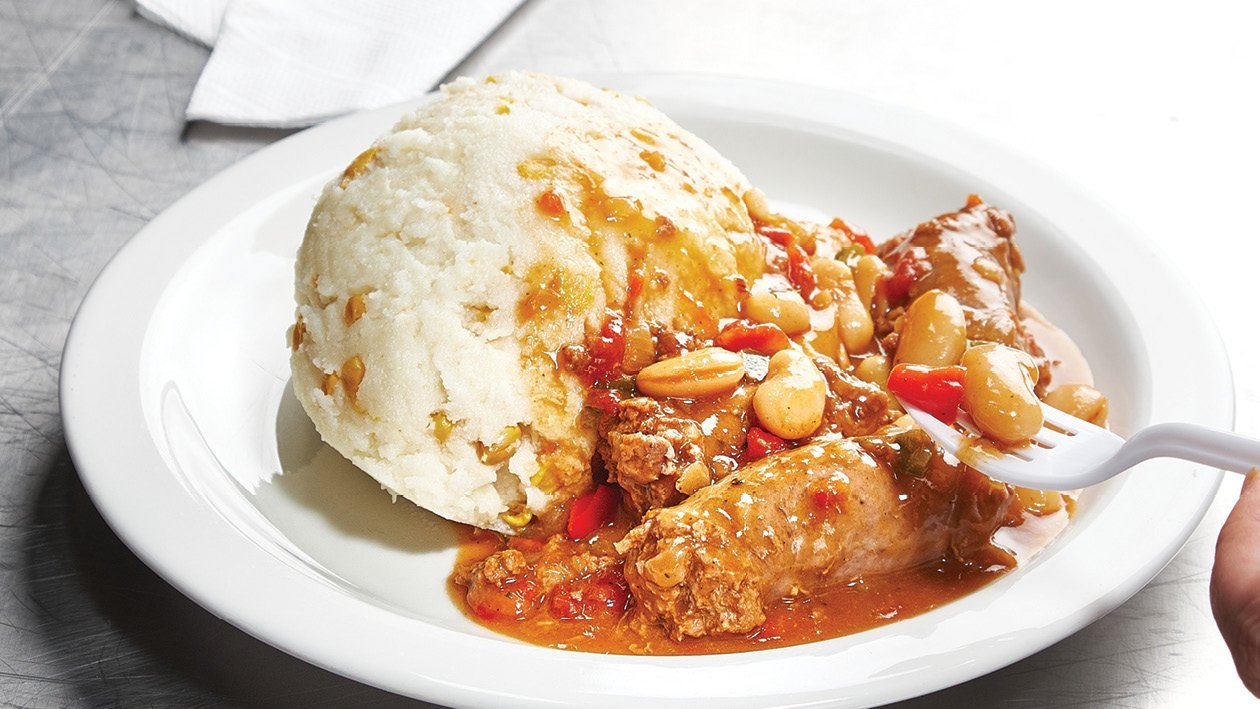 Boerewors Casserole Served with Sweetcorn Pap
