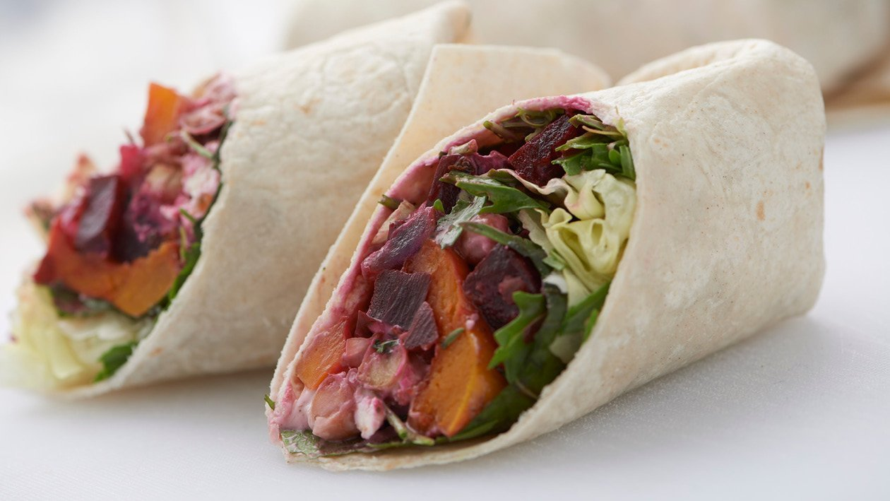 Butternut, Beetroot, Chickpea and Salad Wrap