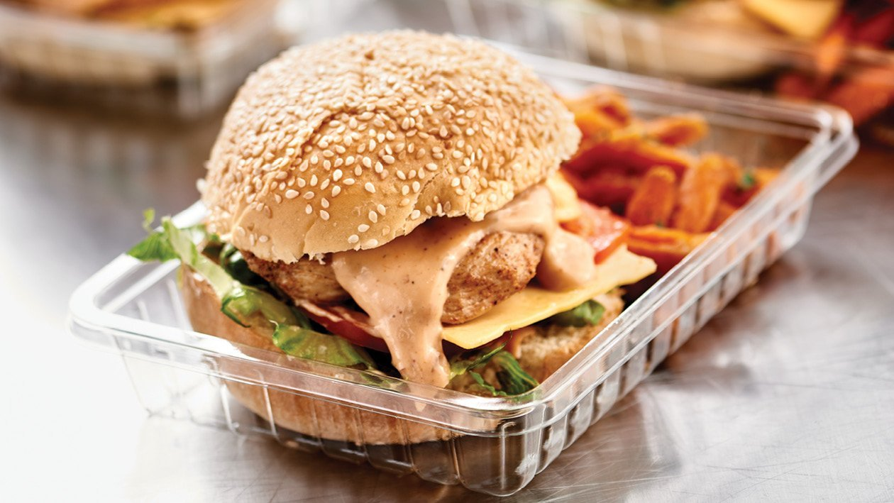Chicken Nacho Burger with Sweet Potato Fries