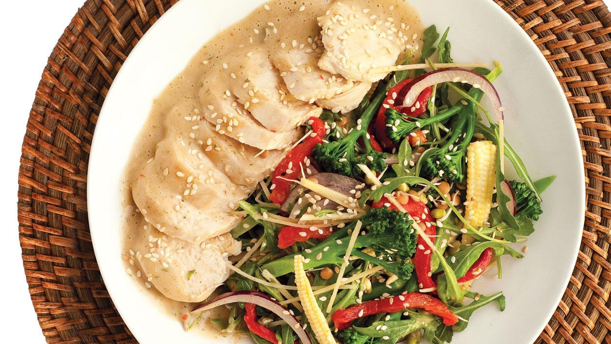 Chicken, Sprout and Rocket Salad with Thai Style Dressing and Toasted Sesame Seeds
