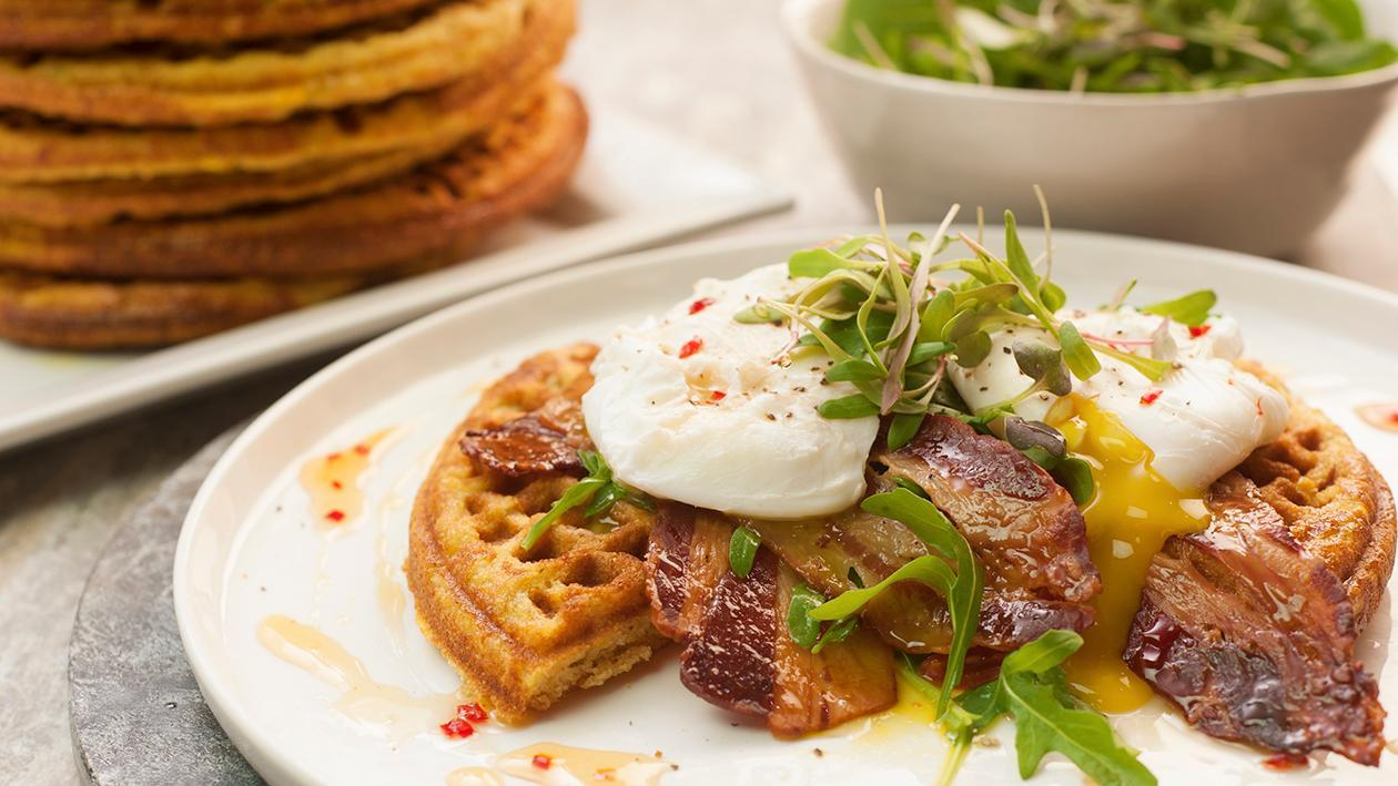 Cornbread Waffle with Rocket, Crispy Bacon, Poached Egg and  Chilli Honey Drizzle