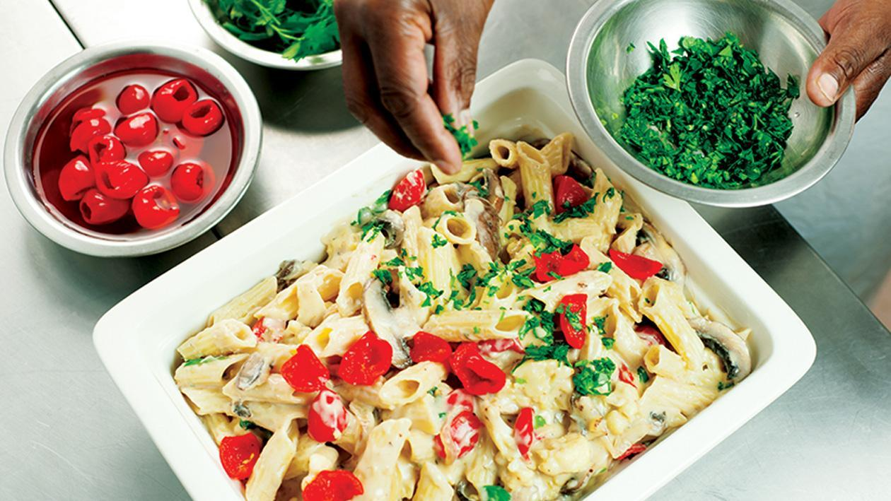 Creamed Cauliflower with Penne, Piping Peppadews and Mushrooms