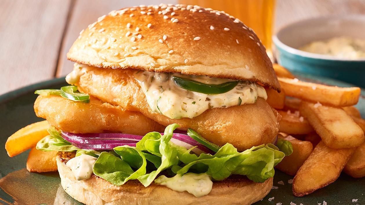 Crispy Fish Burger with Jalapeno Tartare Sauce