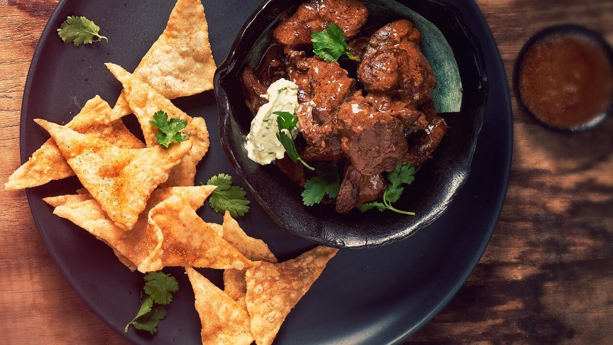 Flaming Cool: Peri-peri Chicken Livers with Homemade Wheat Triangles and Crème Fraîche