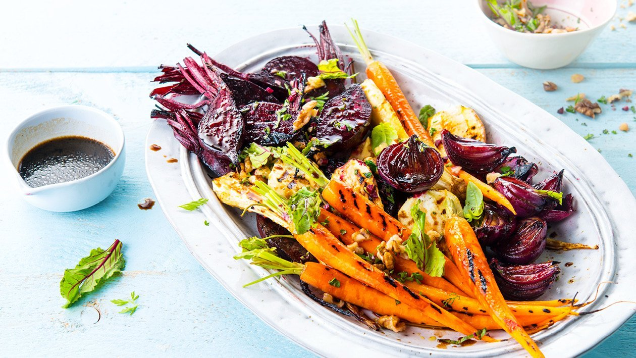 Glazed Barbeque Roasted Root Vegetables With Fresh Herbs