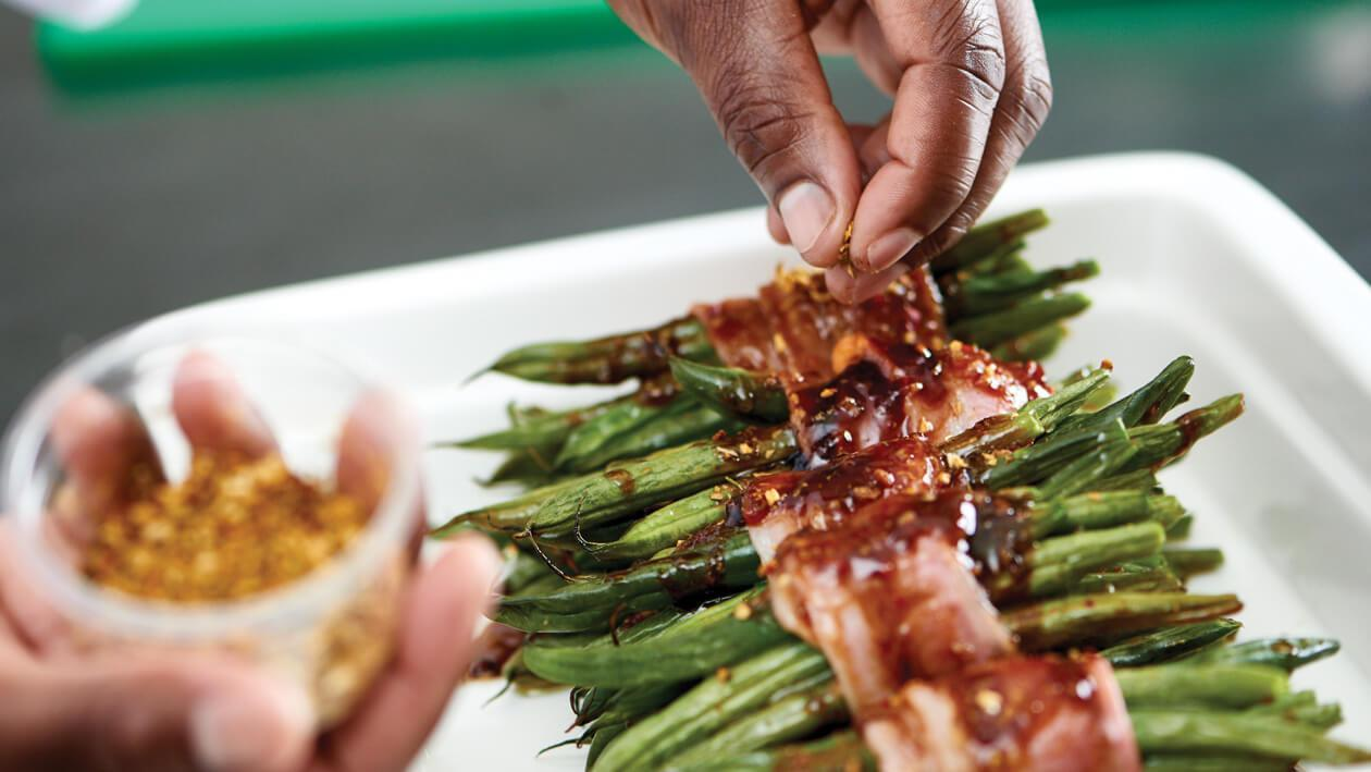 Glazed Green Beans Blanketed in Lusty Bacon
