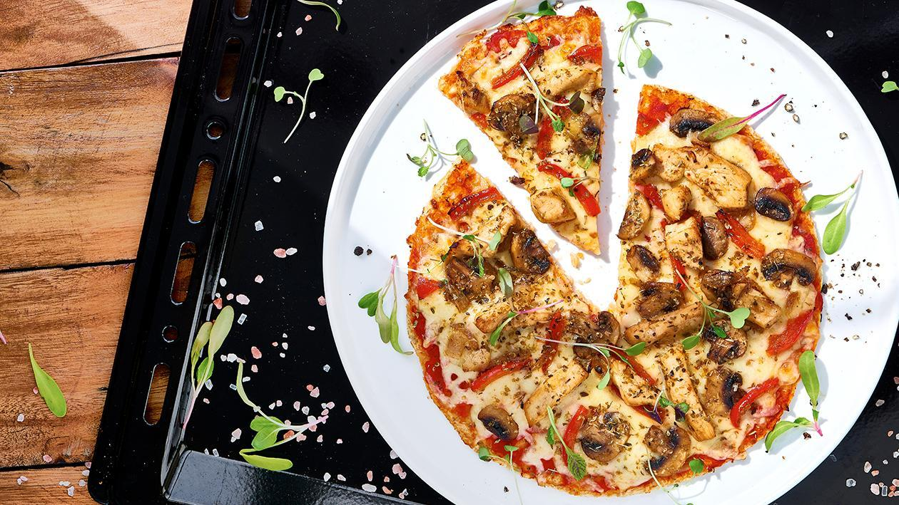 Gluten Free Chicken and Mushroom Pizza