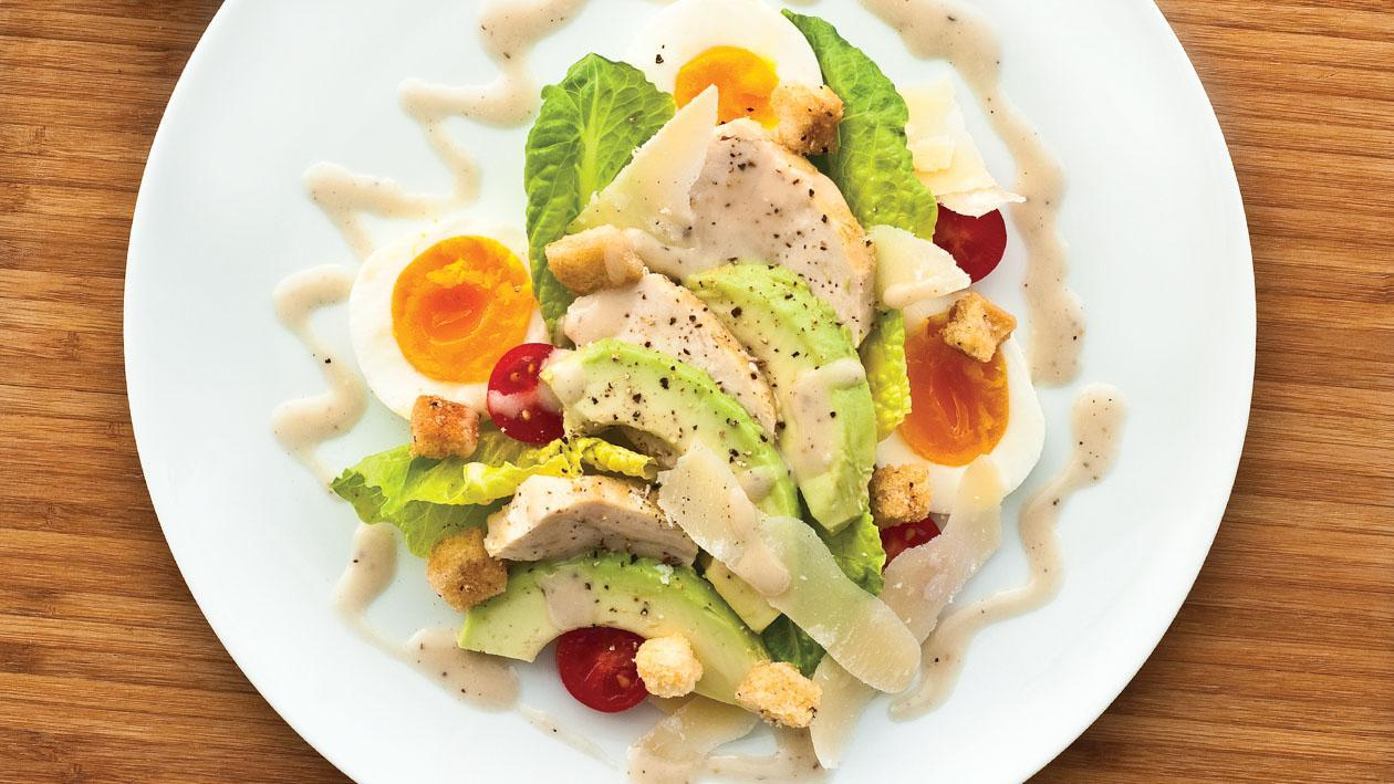 Grilled Chicken and Avocado Salad with Ceasar Dressing