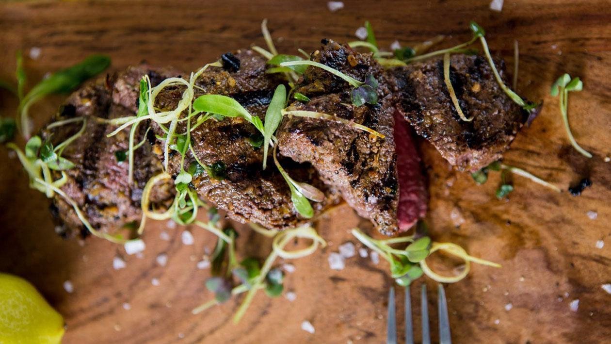 Grilled Ostrich with Citrus & Herbs