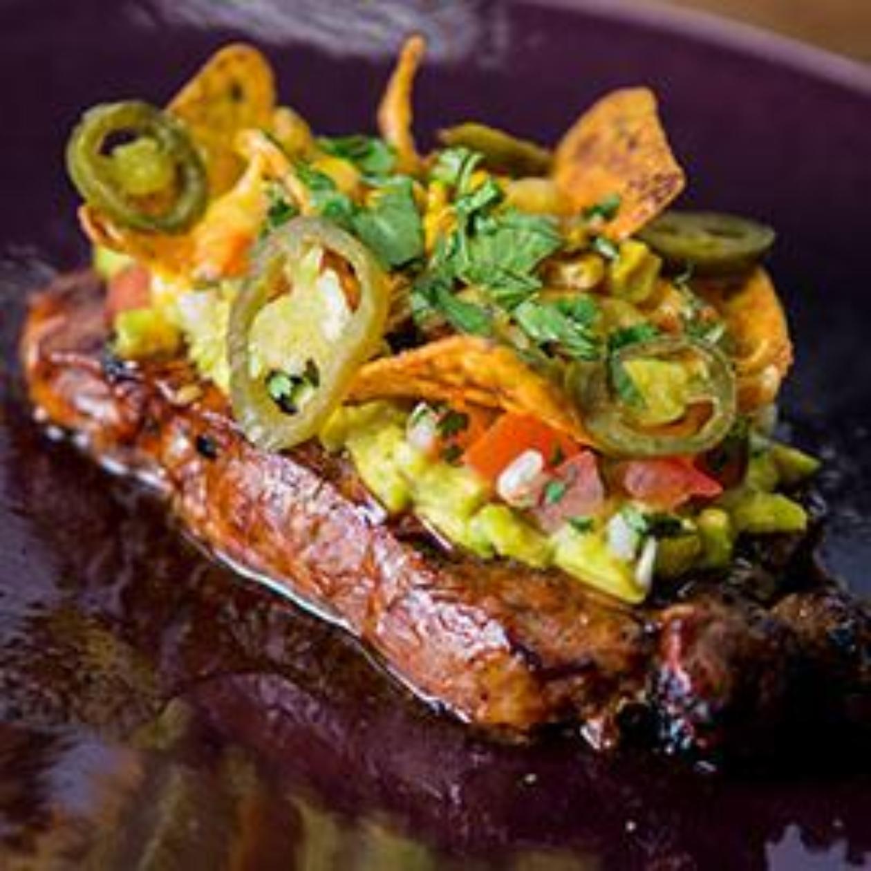 Guac-a-Salsa Dressed Rib Eye Steak