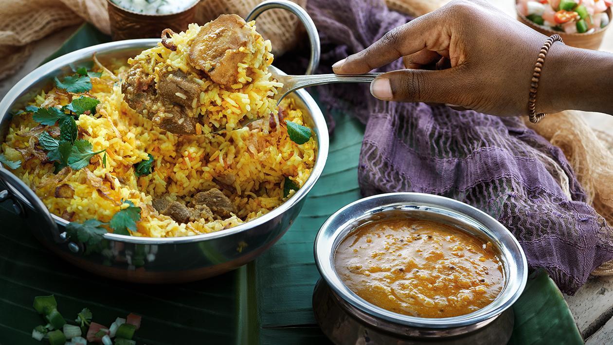 Lamb Briyani Served with Pea Dhall