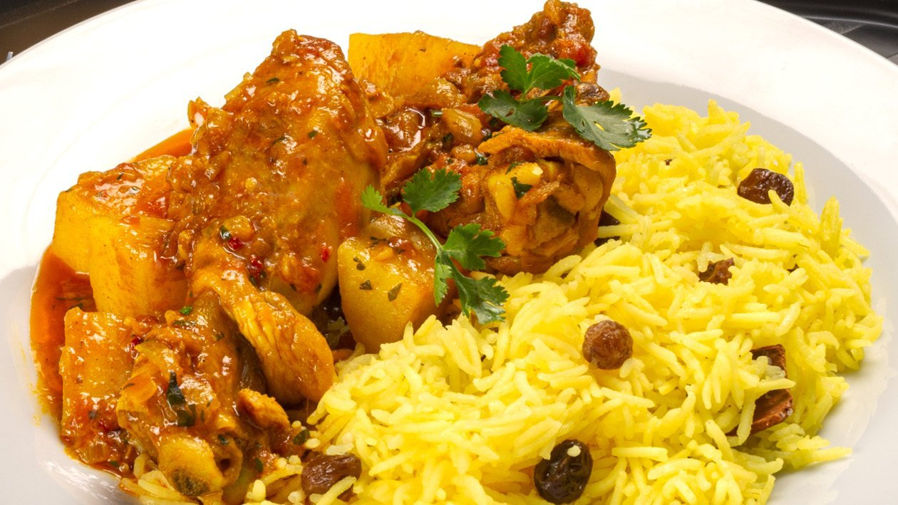 Malay Chicken Curry with Yellow Rice