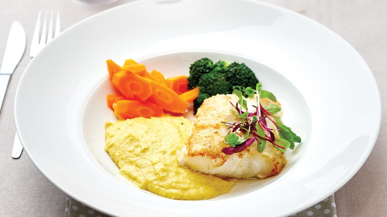 Pan-Fried Hake with Corn Puree